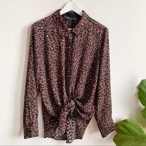 Melanie Lyne Animal Print Button Down Shirt 12